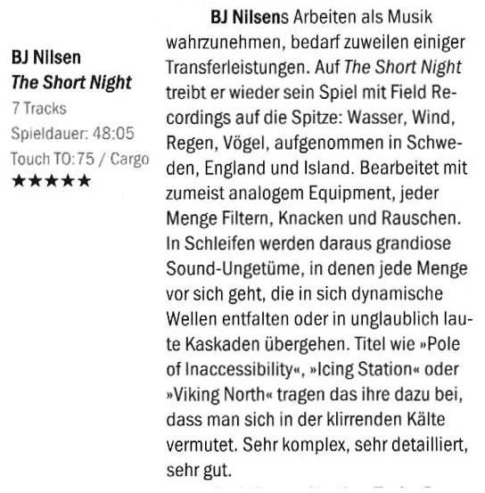 bj nilsen the short night